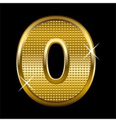 Golden font type letter O vector