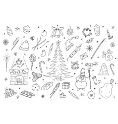 Hand drawn christmas elements set vector image