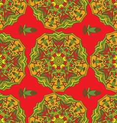 Hand-drawn colored mandala zentangl seamless vector