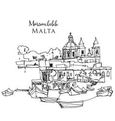 Hand drawn sketch marsaxlokk coastline vector