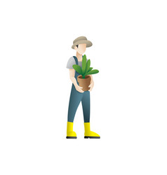 happy gardener man holding a flower pot vector image