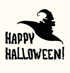 Happy halloween title and witch hat on the white vector