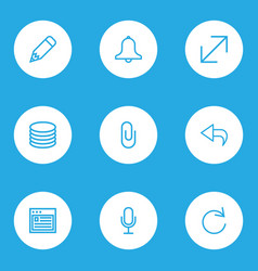 Interface icons line style set with return web vector