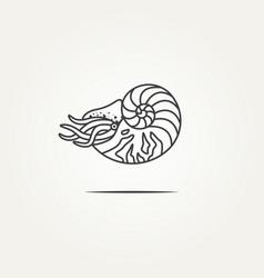 Isolated nautilus ocean shell line art badge logo vector