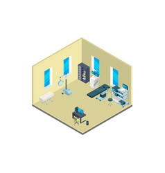 Isometric hospital interior with furniture vector