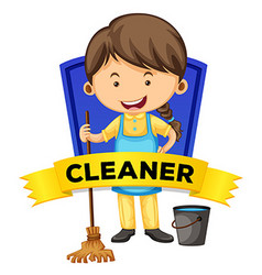 Label design with female cleaner vector