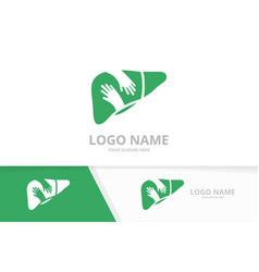 liver and hands logo combination unique vector image