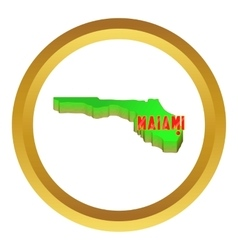 Map of Florida with Miami icon vector image