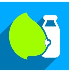 Mother Milk Bottle Flat Square Icon with Long vector