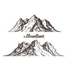 Mountains sketch Hand drawn vector