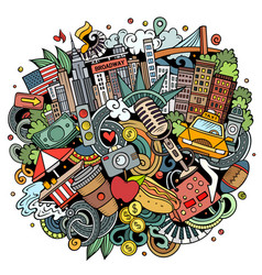 new york hand drawn cartoon doodle vector image