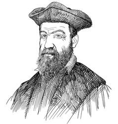 Nostradamus line art style portrait vector