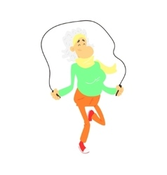 Old lady with skip rope vector
