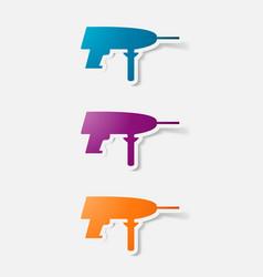 Paper clipped sticker drill vector