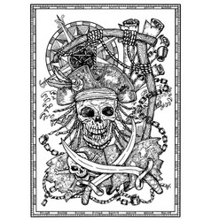 Pirate skull with jolly roger compass and rope vector