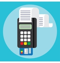 Pos terminal in flat style payment vector image