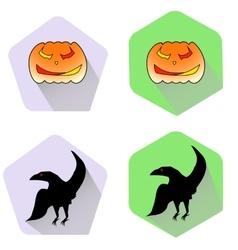Pumpkin and raven halloween flat icons vector
