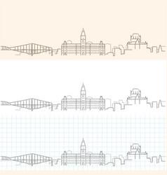 Quebec hand drawn profile skyline vector