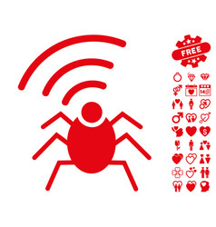 Radio spy bug icon with valentine bonus vector