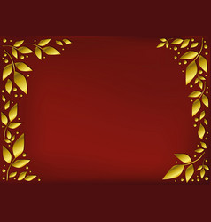 Red background decorated with golden leaves vector