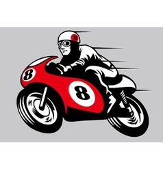 Retro racing motorbike vector