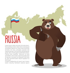 Russian Bear and Russian map Wild animal showing vector
