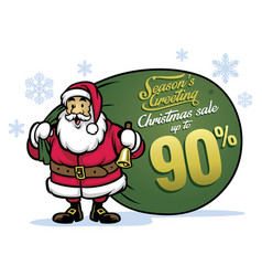 Santa claus bring a bunch sale items vector