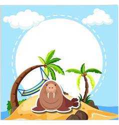 sea lion on the beach vector image
