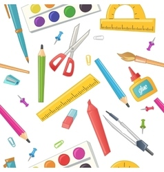 Seamless pattern of stationery for school vector