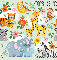 Seamless pattern with cute animals mother and baby vector