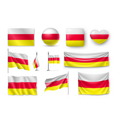 set south ossetia flags banners banners symbols vector image