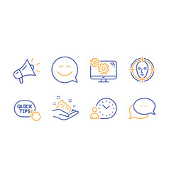 Settings quick tips and smile icons set time vector