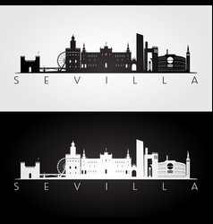 Sevilla skyline and landmarks silhouette black vector