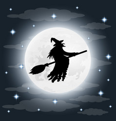 silhouette of a terrible old witch on a broomstick vector image