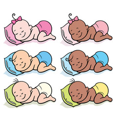 Sleeping babies in diapers vector