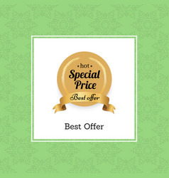 special price best offer hot golden label seal vector image