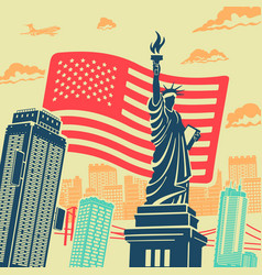statue liberty background vector image