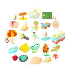 sunny icons set cartoon style vector image