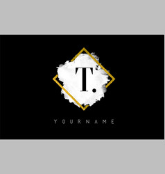 t letter logo design with white stroke and golden vector image