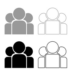 Team people icon set grey black color vector