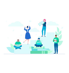 teamwork - flat design style colorful vector image