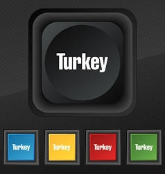 Turkey icon symbol Set of five colorful stylish vector image