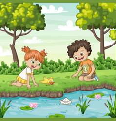 two children play with a boat by al lake vector image