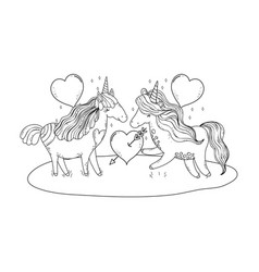 Unicorns couple in the landscape characters vector