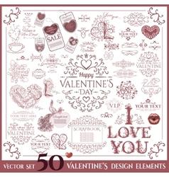 Valentines Day set Calligraphic design elements vector