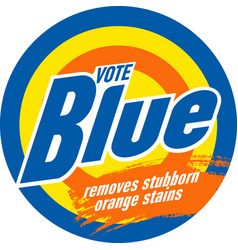 Vote blue and remove orange stains vector