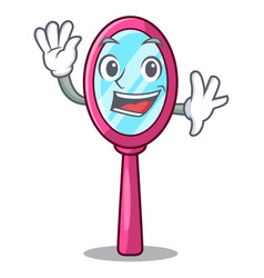 waving mirror isolated with on the mascot vector image