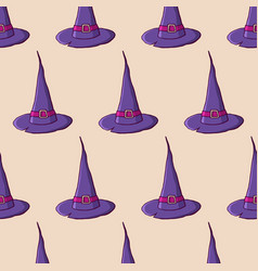 witch hats color seamless pattern vector image