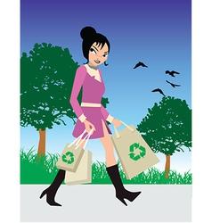 Woman eco shopping vector