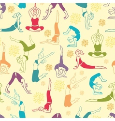 Workout fitness girls seamless pattern background vector image vector image